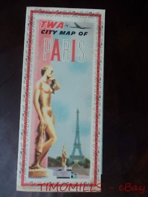 c.1955 TWA CITY MAP OF PARIS Vintage Trans World Airlines Advertising VG+