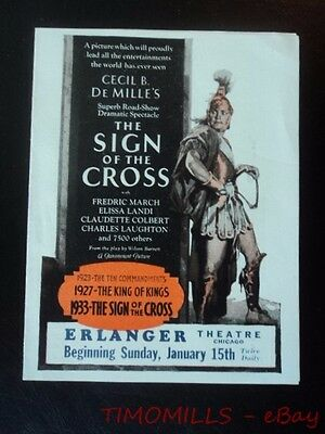 1932 Sign Of The Cross Movie Film Herald Cecile B. DeMille Vintage Original