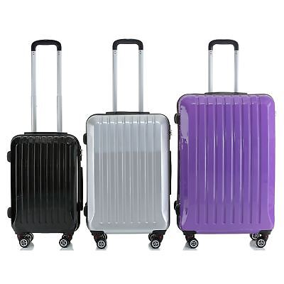 Hard Shell ABS Trolley Case 4 Spinner Wheels Suitcase Luggage Holiday Travel Bag