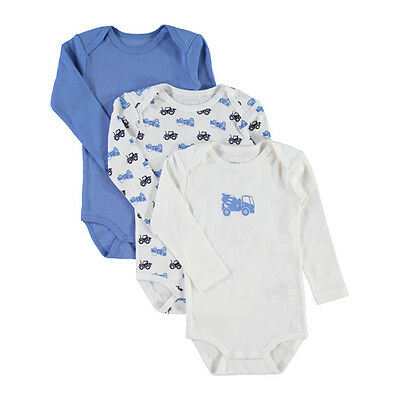 Baby Body 3er Set NAME IT JUNGEN langarm Gr 80 86 92 98 Baumwolle Laster NEU