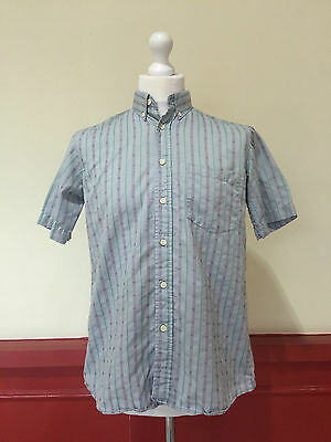 TRUE VINTAGE S/S SHIRT BDC GREY STRIPE 60s 70s RETRO MOD DISCO (S102) SIZE M