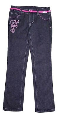 Faded Glory Girls Size 5 6 10 12 Black Pink Belted Skull Hearts Skinny Jeans