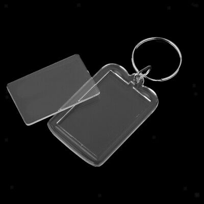 10pcs Acrylic Blank Clear Keyrings Rectangle Photo Holder Keychain 38x25mm