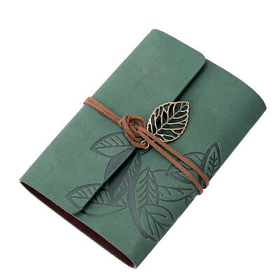 PU Leather Cover Loose Leaf Blank Notebook Journal Diary (Green)-5