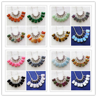 10Pcs Mixed Gemstone Oblong Pendant Fit European Bracelet Necklace XLZ-446