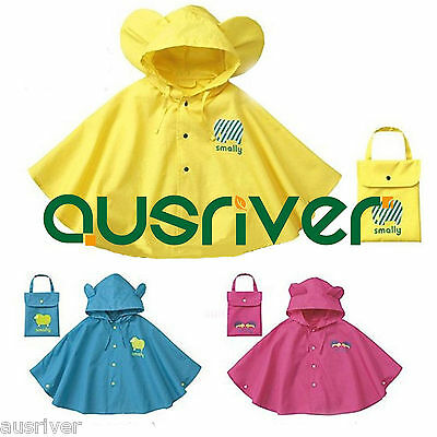 Top Quality Boys Girl Baby Children Rain Cape Rainwear Poncho Hooded  Raincoat