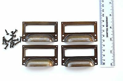 A set of 4 vintage aged brass filing cabinet label holder drawer pull handle FD2