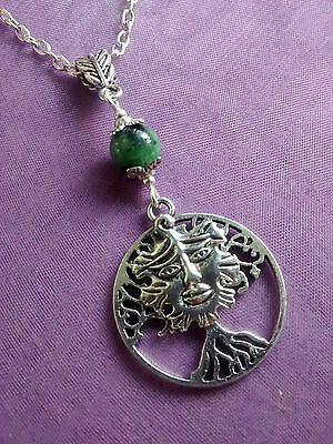 GREEN MAN & TREE OF LIFE SILVER PENDANT RUBY in ZOISITE & NECKLACE Pagan Wiccan