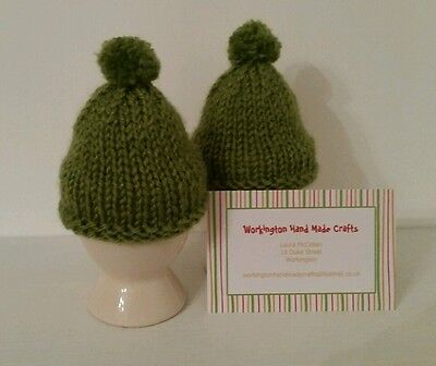 Hand Knitted Pair of Egg Cosies - Apple Green