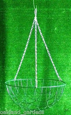 "1 X 18"" Wire Hanging Basket 45Cm Round Baskets Choose Jute Liners Metal Planter"