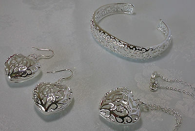 Sterling Silver Heart Necklace, Earring and Bracelet Set.