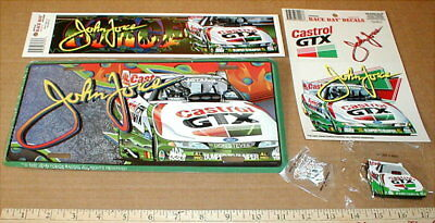 John Force New drag racing License plate keychain + hat pin Ford Castrol GTX lot