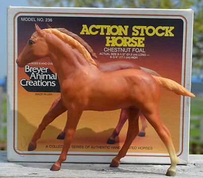 Breyer #236 Action Stock Horse Foal, Chestnut, 1984-86 with old style box