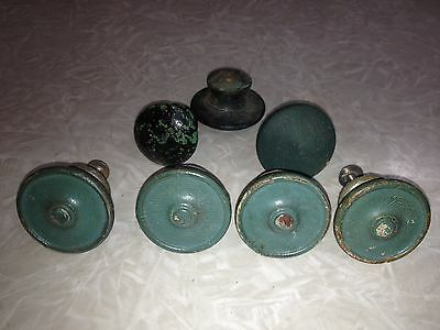 ~7 Vintage Antique Blue Paint Hue Painted Knobs~