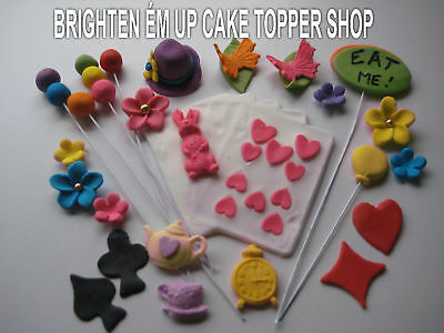 66 Edible Cake Toppers Cupcake Alice In Wonderland Pk