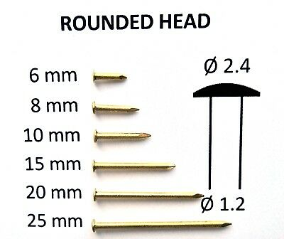 6-25mm up to 250pcs Mini Brass Small Tacks Nails, Brads, Escutcheon Pins 16G RH
