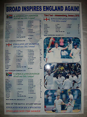 England win 3rd test in South Africa - 2016 - Stuart Broad 6/17 - souvenir print