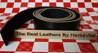 """AUTHENTIC HORWEEN CHROMEXCEL 10 OZ. BLACK LEATHER 50"""" x 1.5"""" STRAP NAT. QLTY"""