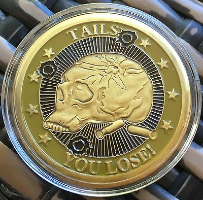 Skull Heads Tails Challenge Coin Medallion Finished In Brass .999 1oz Plated 40m