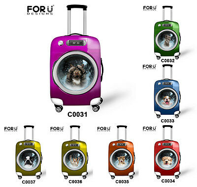 """20"""" 24"""" 26"""" 28"""" Elastic Travel Luggage Cover Suitcase Protector Carrier Animals"""