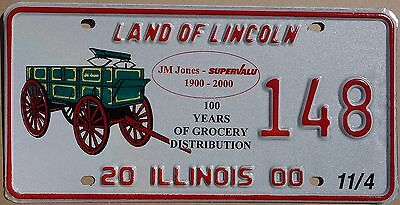 "Illinois 2000 ""JM Jones 100 Years"" USA Number License Plate American Wagon 148"