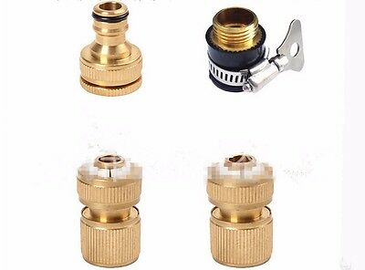 """Solid Brass Garden Lawn Water Hose Pipe Fitting Connector Tap Adaptor 1/2"""" 3/4"""""""