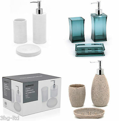 3 Piece Bathroom Accessories Set Soap Dish Dispenser & Tumbler Various Style New