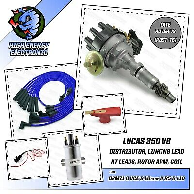 Rover 3.5 3.9 4.2 V8 35D Distributor & Viper ignition coil & blue 8mm HT Leads