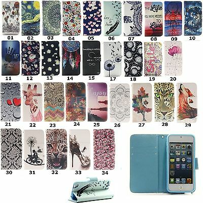 Magnetic Flip Stand Wallet Leather TPU Card Case Cover For iPod Touch 5 6th Gen