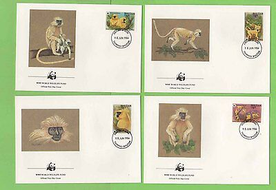 Bhutan 1984 Golden Langur Monkey set on four Official WWF First Day Covers