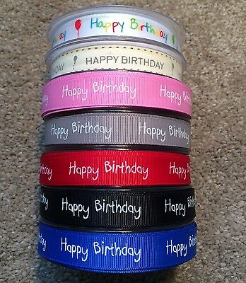 Happy Birthday Ribbon Full 20 Mtr Reel 16mm Wide Gift Present Packaging