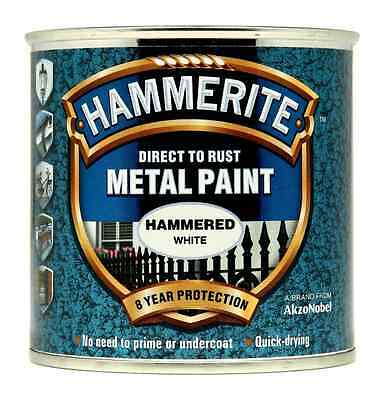 Hammerite Direct to Rust Hammered Finish Metal Paint White 250ml