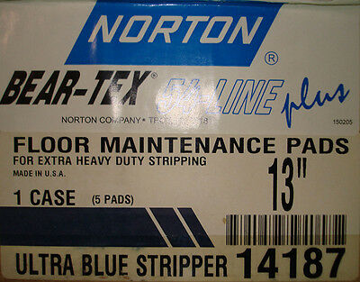 "13"" Ultra Blue Stripper Floor Pad By Norton, 14187, Box Of 5, New"