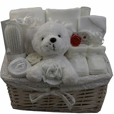 Baby gift basket/hamper all white unisex neutral baby shower nappy cake