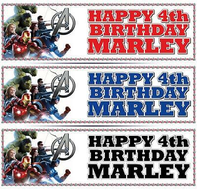 """2 PERSONALISED AVENGERS BIRTHDAY BANNER 3ft - 36 """"x 11"""" - ANY NAME ANY AGE"""
