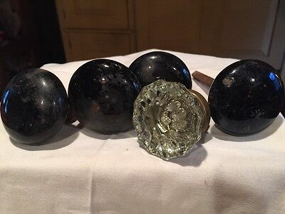 Lot 5 Black Porcelain Crystal Door Knobs Doorknobs Shaft Hardware Lot