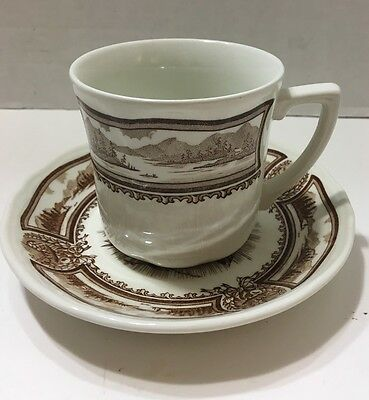 J & G Meakin Style House Americana Brown Transfer ware Cup & Saucer Set