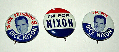 Set of 3 1960 Richard I'm For Dick Nixon for President Campaign Button NOS New