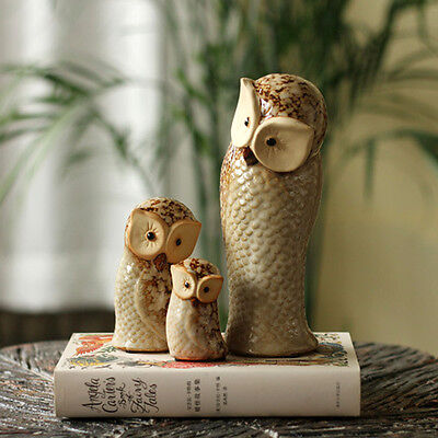 3pcs Vintage Decorative Owl Birds Figurine Ceramic Owl Owlet Home Mantel Statue