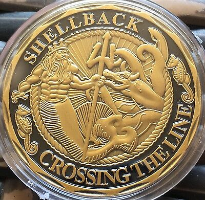 USA United States Navy Shellback Challenge Coin - Medallion Finished In 24k Gold