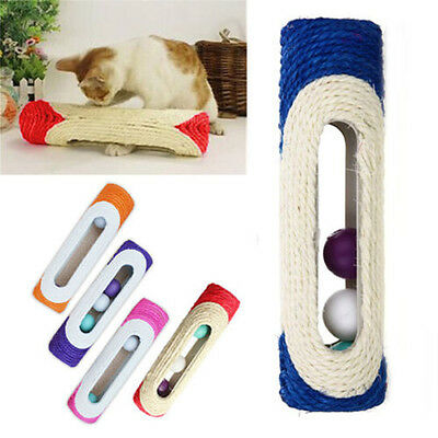 Pet Cat Kitten Kitty Toy Rolling Sisal Scratching Post 3 Trapped Ball Train play