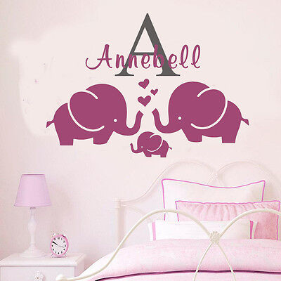 Wall Stickers custom name elephant I kids Removable Vinyl Decal Art Mural Decor