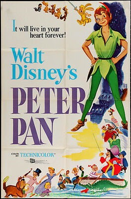 PETER PAN MOVIE POSTER Original Folded 27x41 Re-release 1969 DISNEY Animation