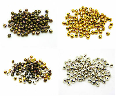 100 Pcs 4mm Tibetan Silver - Gold Antique Bronze Dainty Faceted Spacer Beads ML