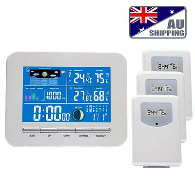 Wireless Color Display Weather Station Indoor Outdoor 3 Thermo Sensors Humidity