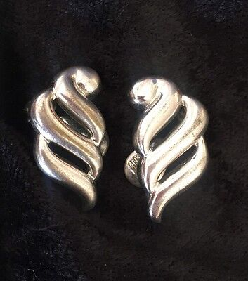 Vintage Monet Silver Tone Clip Earrings Swirl Drop