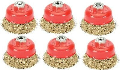 """Lot Of 6 Threaded Cup Wire Wheel Brushes 3"""" x 5/8"""""""