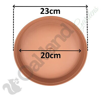 2 x 23cm Plant Pot Saucer Drip Tray Terracotta Plastic Deep High Sided Strong