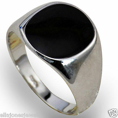 Silver Plated Black Onyx Mens Ring Signet Wedding Band Pinky (Sizes K to Z+3)