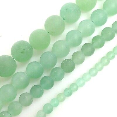 "Wholesale Natural Green Aventurine Matte Round Beads Spacer 15"" 6mm 8mm 10mm"